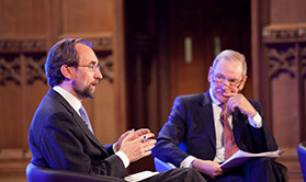 Zeid Ra'ad Al Hussein, UN High Commissioner for Human Rights (left) in conversation with Sir Jeremy Greenstock, UNA-UK's Chairman