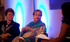 Panel discussion with (from left) Gro Harlem Brundtland, Hina Jilani and Natalie Samarasinghe