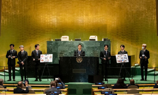 BTS, Special Presidential Envoy for Future Generations and Culture of the Republic of Korea, makes remarks and performs during the Sustainable Development Goals (SDG) Moment