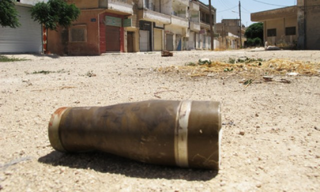 An unexploded shell