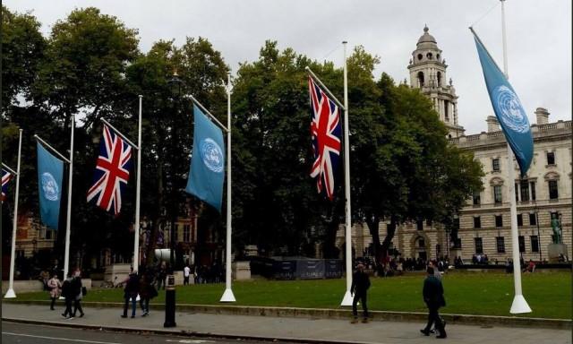 UN & UK Flags in London, credit: UNHCR UK