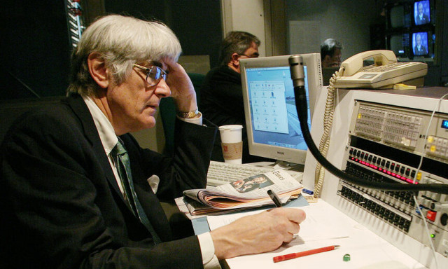 Edward Mortimer in 2004, as Head of Speechwriting Unit of Executive Office of the Secretary-General, monitors the recording.