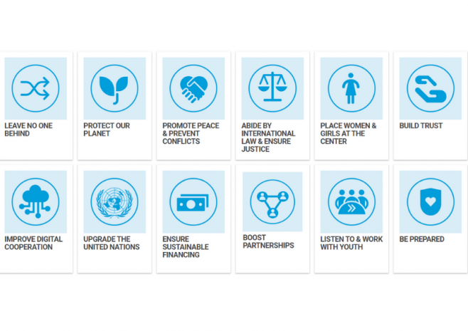 12 Areas of action: Leave No One Behind, Protect our planet, promote peace, abide by international law and ensure justice, place women and girls at the center, build trust, digital cooperation, upgrade the UN, sustainable financing, youth, be prepared.